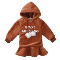 女童卫衣加绒加厚冬款新款儿童卫衣裙保暖金丝绒中长款打底衫
