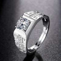 925银男士戒指个性活口仿真钻石钻戒镀铂金霸气潮男单身指环