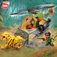 警察系列�犯呋�木警车动物儿童益智拼装玩具男孩子新年礼物