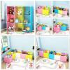 门扉 收纳柜 创意彩虹色简易魔片塑料组合树脂衣柜组装玩具收纳箱