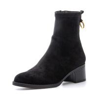【3折再减80】星期六(ST&SAT)秋季中跟圆头时尚女靴SS83116236