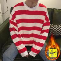 秋装情侣装气质冬装加绒网红长袖卫衣男外套韩版宽松条纹衣服ins