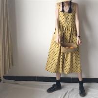 夏装韩版中长款宽松波点吊带背心裙显瘦气质无袖连衣裙女学生长裙