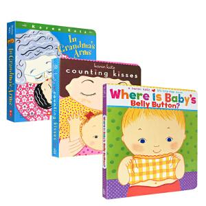 英文进口原版绘本 Karen Katz 卡伦卡茨 Toes Ears & Nose/Counting Kisses/宝宝的肚脐-0-3岁儿童启蒙入门认知趣味亲子互动图画书3册