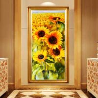 向日葵十字绣客厅现代简约玄关竖版印花线绣过道走廊花卉挂画