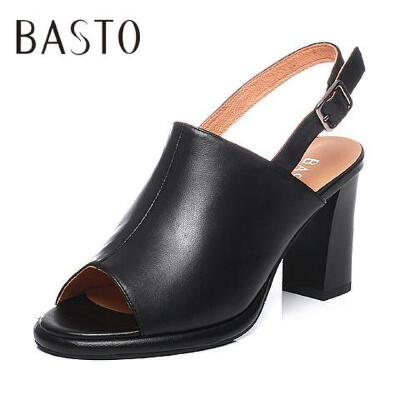 BASTO/百思图2017夏季专柜同款山羊皮简约通勤粗高跟女凉鞋TGI04BL7