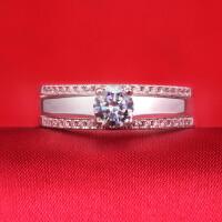 钻石戒指套戒情侣戒指女钻戒女戒尾戒结婚对戒钻戒 材质925银镀白金 8号-22号 现货即发