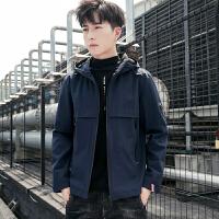 秋冬季外套男韩版潮流帅气学生中长款夹克带帽修身青少年男装风衣