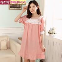 韩版夏季女士纯棉布睡裙甜美梭织全棉睡衣可爱蕾丝短袖棉布连衣裙 均码