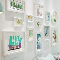 照片墙简约现代相框墙实木相框画框组合相片墙客厅沙发背景墙装饰 9094全白色框 151*79厘米