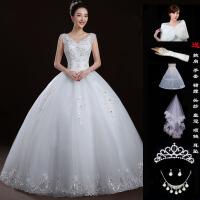 婚纱礼服新款2018长拖尾一字肩大码齐地公主显瘦新娘结婚双肩v领