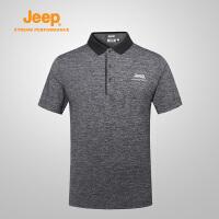【反季清仓特惠】Jeep/吉普 男士户外舒适透气排汗速干衣短袖t恤POLO男J822094525