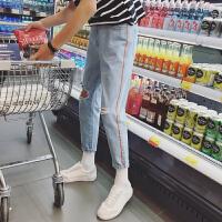 春装新款韩国ulzzang牛仔裤破洞男士哈伦小脚裤gd权志龙同款裤子