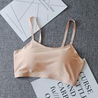 白色冰丝抹胸带胸垫吊带背心少女裹胸薄款打底文胸运动内衣短款夏 均码