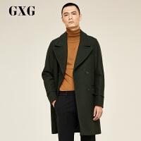 【年货节狂欢1.15-1.20,2件2折到手价:249.8】【新品】GXG大衣男装 冬季男士时尚潮流军绿长款翻领羊毛呢