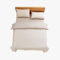 当当优品家纺 全棉日式针织床品 1.5米床 床笠四件套 条纹棕色