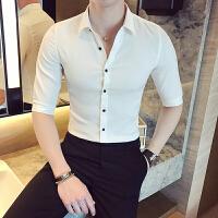 夏款新款百搭衬衫男士免烫韩版修身七分袖寸衣夜店发型师餐厅制服