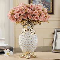 欧式干花花瓶摆件 创意客厅餐桌酒柜电视柜台面插花 家装饰品大号 中号花瓶送5束粉色纹边玫瑰花