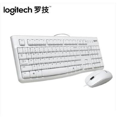 罗技(Logitech) MK120键鼠套装 有线键盘鼠标套装USB笔记本电脑台式机键鼠 白色