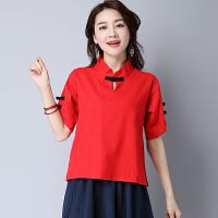夏装 中国风女装 短袖上衣改良复古民国风棉麻盘扣撞色衬衫女
