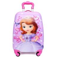 儿童拉杆箱18寸万向轮行箱16寸男女学生小孩宝宝公主卡通拖拉箱 紫玫红 18寸苏菲亚