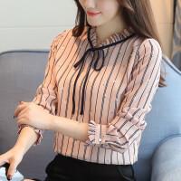 2018春装新款女装蝴蝶结条纹印花衬衫女长袖雪纺衫春秋打底衫上衣 粉红色