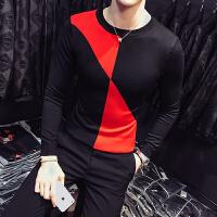 新款秋冬男士保暖针织衫韩版修身拼色毛衣社会精神小伙紧身打底线