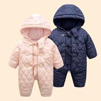 六个月宝宝冬装女0一1岁英式婴儿衣服韩版新生儿冬季保暖连体哈衣
