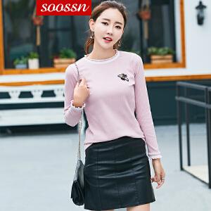 SOOSSN   2018秋冬季新款针织衫女长袖修身显瘦毛衣韩版百搭打底衫上衣6078
