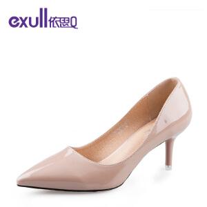 依思q新款浅口单鞋休闲亮面尖头细跟高跟鞋女鞋-