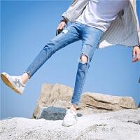 春夏季九分牛仔裤男夏天破洞修身小脚潮流男生韩版9分学生裤薄款