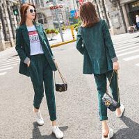 韩国灯芯绒小西装外套女两件套2019春新款休闲西服套装 墨绿色【质量保证】