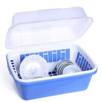 碗柜塑料厨房沥水碗架带盖碗筷餐具收纳盒放碗碟架滴水碗盘置物架A218