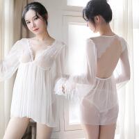 情趣内衣女超骚三点式睡衣制服性感睡裙开裆胸罩骚透视装激情套装