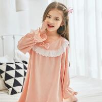 女童长袖睡裙中大童单面薄款珊瑚绒法兰绒睡衣可爱公主儿童秋冬款 粉红色