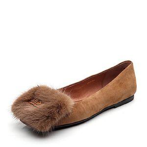 BASTO/百思图2018春季专柜同款羊绒皮/貂毛皮浅口方头女皮鞋RGB21AQ8