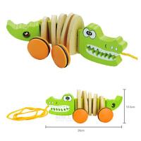 婴幼儿童宝宝木制质动物拖拉玩具小狗鳄鱼手拉线绳学步车1-3岁 拖拉鳄鱼【尾巴摇铃有声音】
