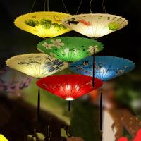 20180831044249905新中式雨伞吊灯具创意布艺中国风伞灯仿古火锅店茶楼餐厅饭店灯笼