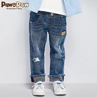【2件3折 到手价:179】Pawinpaw卡通小熊童装春季男童潮流帅气破洞牛仔裤长裤子
