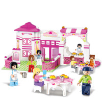 拼装积木女孩过家家粉色梦想浪漫餐厅 女孩拼装玩具积木
