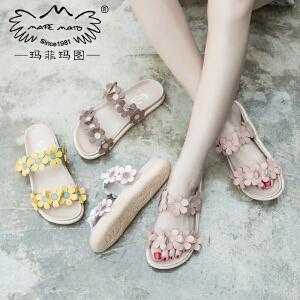 玛菲玛图夏天拖鞋女外穿新款潮时尚复古一字学生平底花朵凉拖鞋M1981817T31