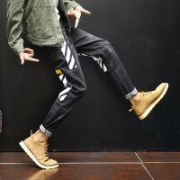 新款秋冬个性印花牛仔裤男士修身小脚裤韩版潮流青少年男裤嘻哈男