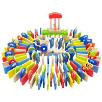 多米诺骨牌儿童益智积木玩具木制智力机关识字玩具宝宝礼物