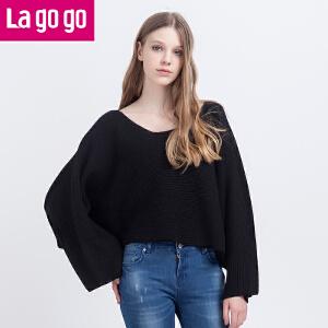 Lagogo秋季新款蝙蝠袖短款针织衫套头一字领宽松斗篷式毛衣女秋装
