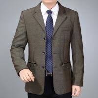 春秋中年男休闲夹克男士西装领外套商务男装中老年男式茄克上衣