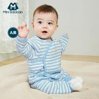 【周年庆 3折价:72】迷你巴拉巴拉新生儿条纹雨点套装夹棉春新品男女宝宝两件套