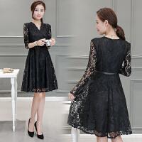 蕾丝连衣裙秋冬款新款优雅韩版修身显瘦蓬蓬名媛气质长袖裙子