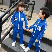 童装2018男童春装新款儿童运动套装小学校服班服中国女童运动服