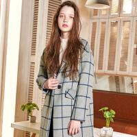 三彩2017冬装新品 西装领格子长大衣一粒扣毛呢外套女D742851D00