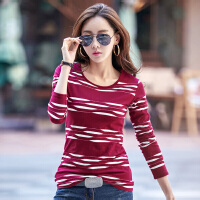 圆领女女装长袖T恤 韩版修身女士长袖T恤上衣2018秋季新款条纹